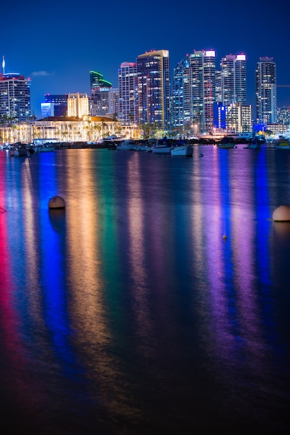 Colorful san diego night Free Photo