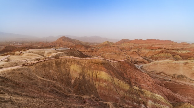 Colorful sandstone mountains in china Premium Photo