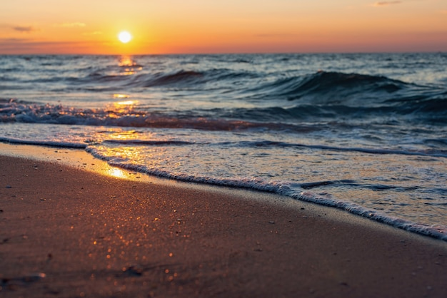 Colorful sea beach sunrise Premium Photo