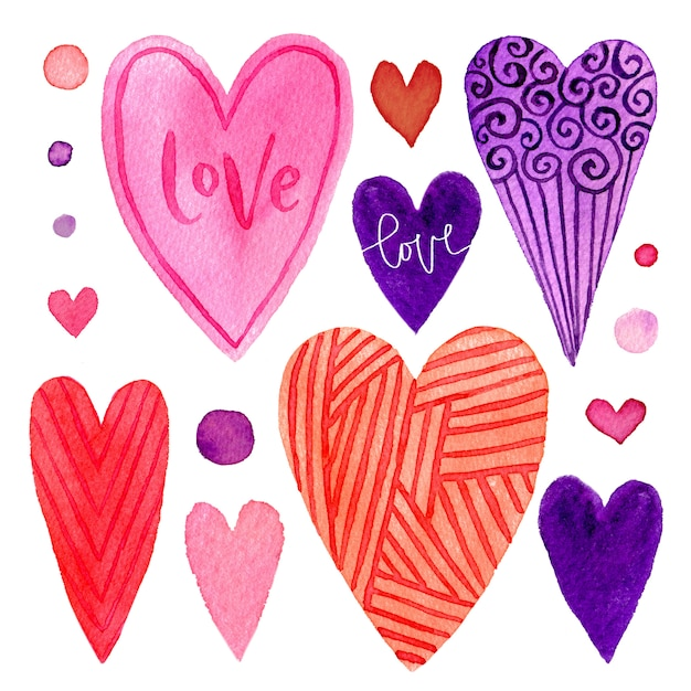 Colorful set of valentines day hearts. bright elements Premium Photo