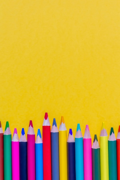 Colorful sharpened pencils background. close up. copy space. Premium Photo