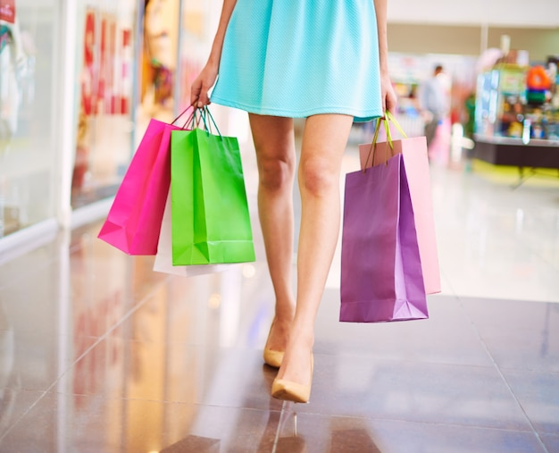 Colorful shopping bags at the mall Photo | Free Download