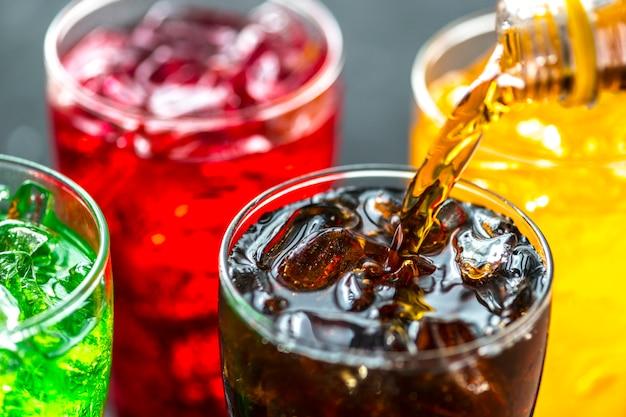 Colorful soda drinks macro shot Free Photo