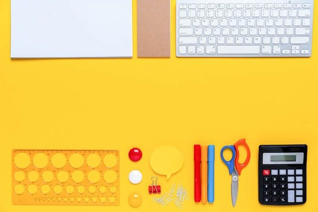 Colorful stationary in concept creative school work top view Premium Photo