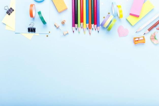 Colorful stationary school supplies Premium Photo