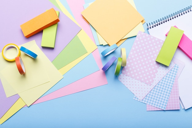 Colorful stationary supplies Premium Photo