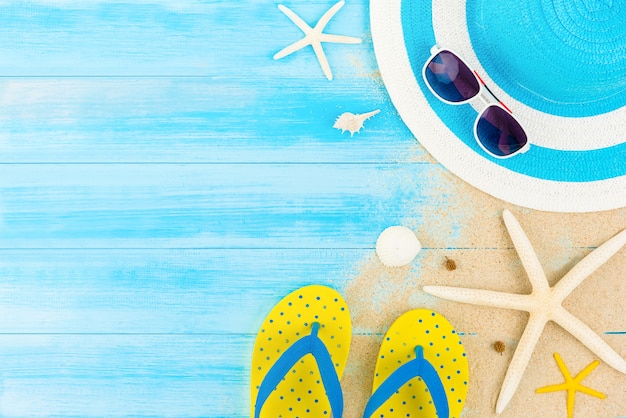 Colorful summer holiday beach background Premium Photo