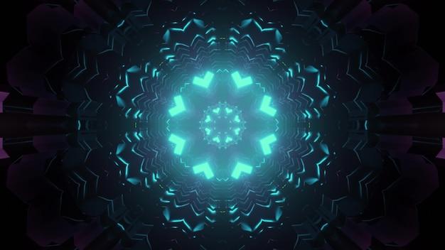 Colorful symmetric corridor in blue neon illumination with kaleidoscopic pattern design 3d illustration Premium Photo