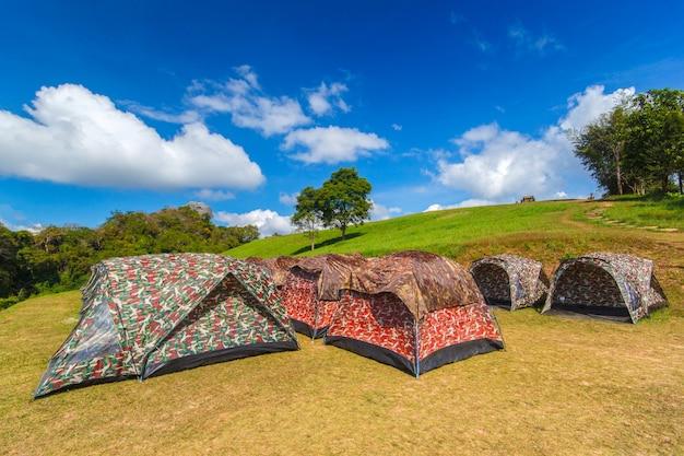 Colorful tents camping at doi samer dao , sri nan national park, nan province, thailand Premium Photo