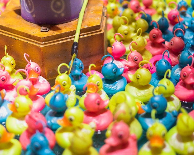 Colorful toy ducks in a water tank Free Photo