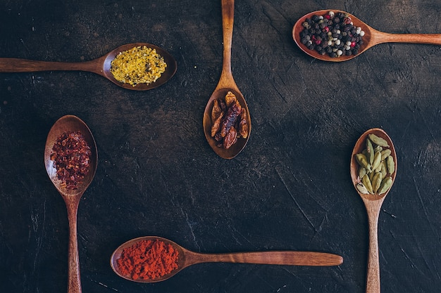 Colorful various spices in wooden spoons Premium Photo