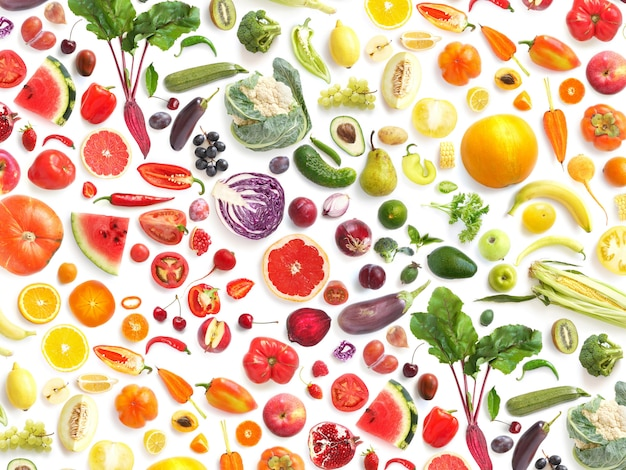 Colorful vegetables and leaves on white Premium Photo
