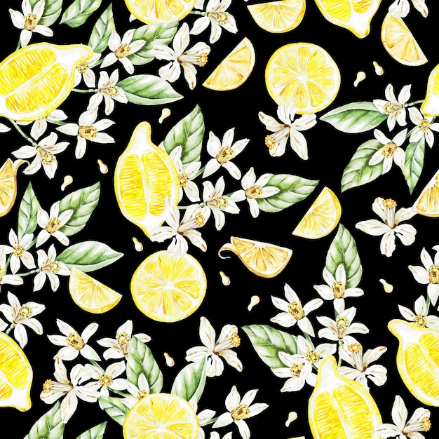 レモンの果実と花のカラフルな水彩パターン。イラスト。 Premium写真