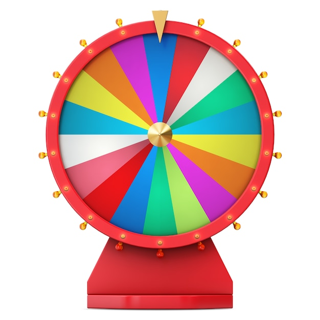 Colorful wheel of luck or fortune. realistic spinning fortune wheel. wheel fortune isolated on white background, 3d illustration Premium Photo