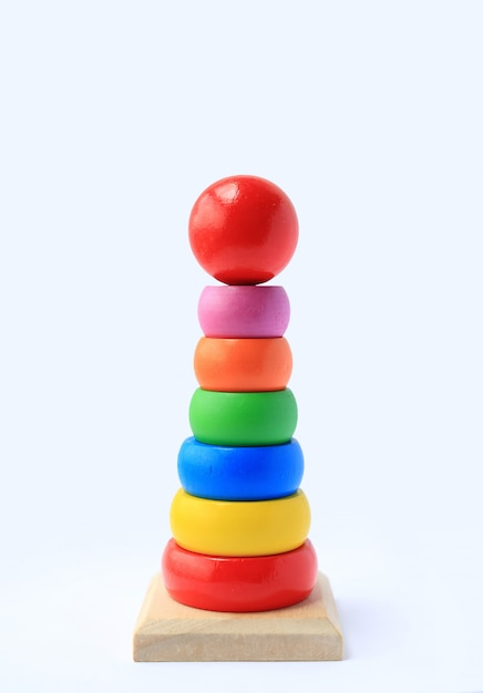 Colorful wooden toys for kids Premium Photo