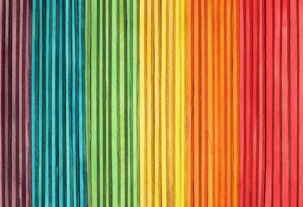 Colorful wooden wall texture background in bright rainbow colors. Premium Photo