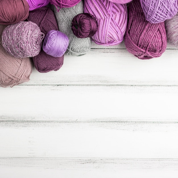 Colorful wool yarn with copy space Free Photo