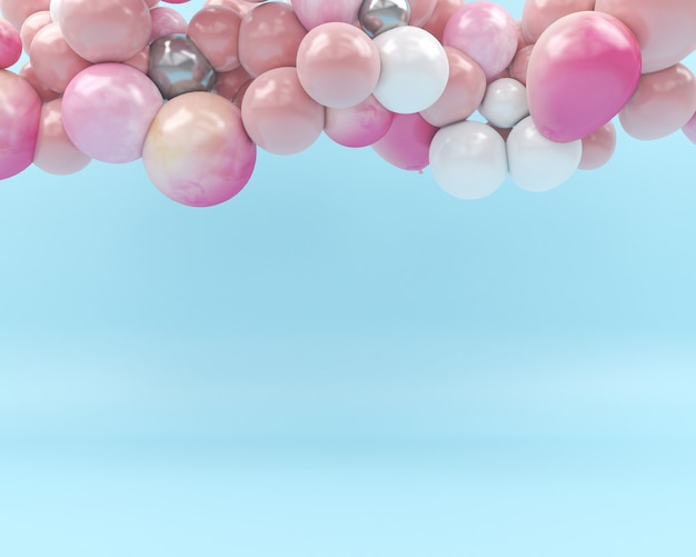 Colorfull balloon fly in air blue background 3d  render pastel Premium Photo