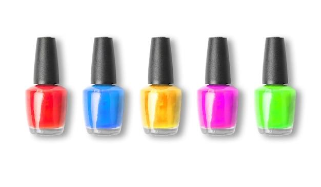 Colour nail polish bottle on white background Photo ...