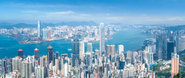 Coloured images in modern office buildings in downtown hong kong Premium Photo