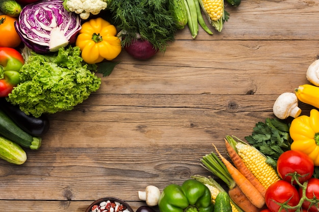 Colourful background of vegetables with copy space Premium Photo