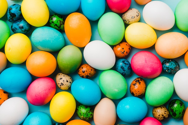 Colourful collection of easter eggs Free Photo
