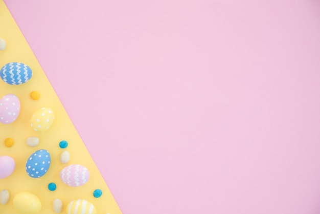 Colourful easter eggs on bright table Free Photo