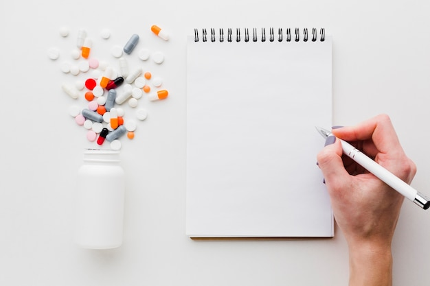 Colourful pills spilled from plastic bottle and notepad Free Photo