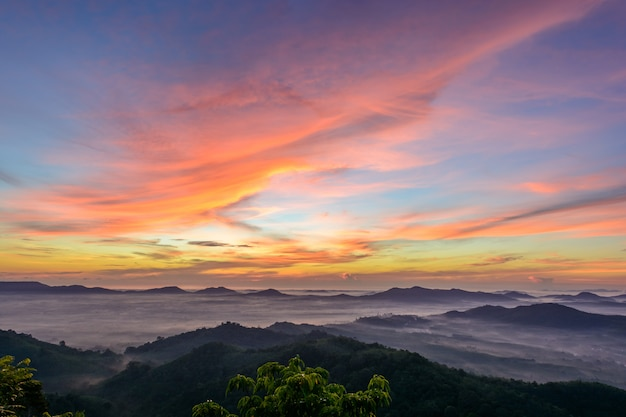 Colourful sky with mountains at hatyai, thailand Premium Photo