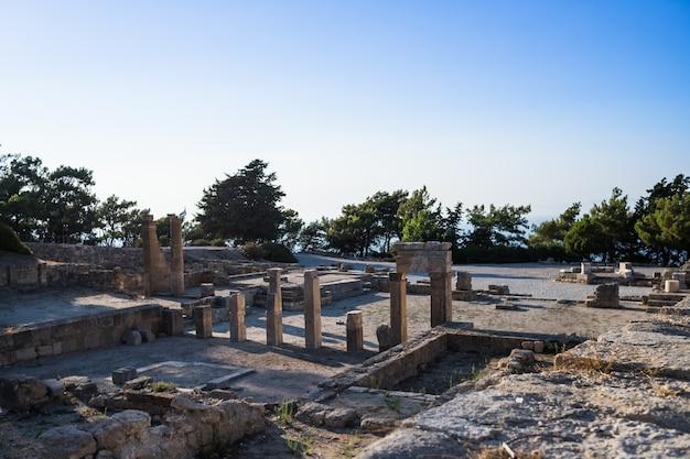 Columns of doric temple in old city Premium Photo