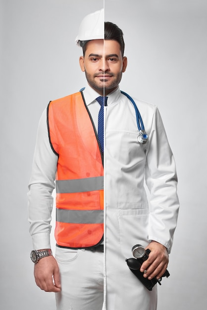 Combined portrait of a man dressed in constructionist uniform and labcoat architector engineering bu