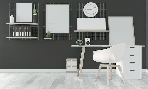 Comfortable office and decoration on black room floor wooden white. 3d rendering Premium Photo