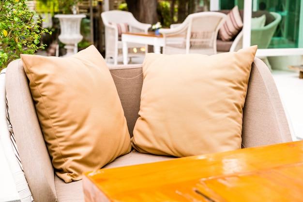 Comfortable pillow on outdoor patio Premium Photo