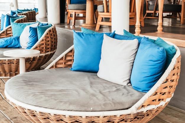 Comfortable pillow on sofa outdoor patio Premium Photo