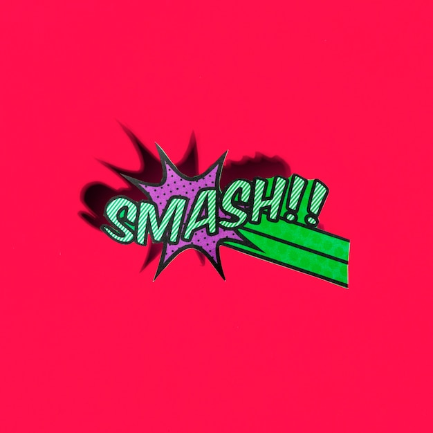 Comic boom smash icon on red background Free Photo