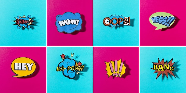 Comic colored sound icons set for web on blue and pink background Free Photo
