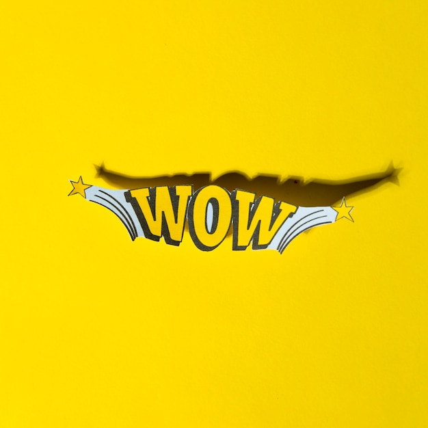Comic lettering wow in retro pop art style with shadow Photo
