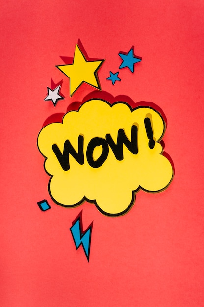 Comic sound effect speech bubble on bright red background Free Photo