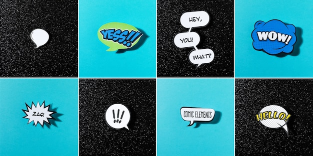 Comic speech bubbles set with different emotions and text on blue and black background Free Photo