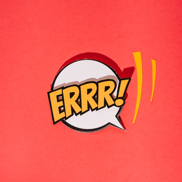 Comic speech bubbles with text on red background Free Photo