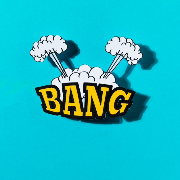 Comics explosion abstract style with text bang on turquoise backdrop Free Photo