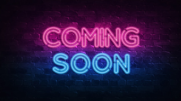 Coming soon neon sign. purple and blue glow. neon text. brick wall lit by neon lamps. night lighting on the wall. Premium Photo