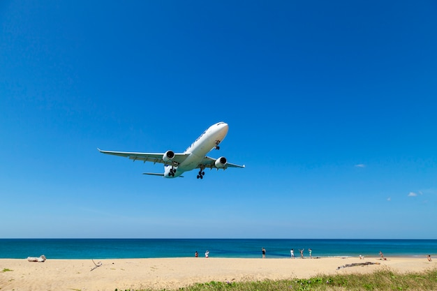 Commercial airplane landing above sea and clear blue sky over beautiful scenery nature background Premium Photo