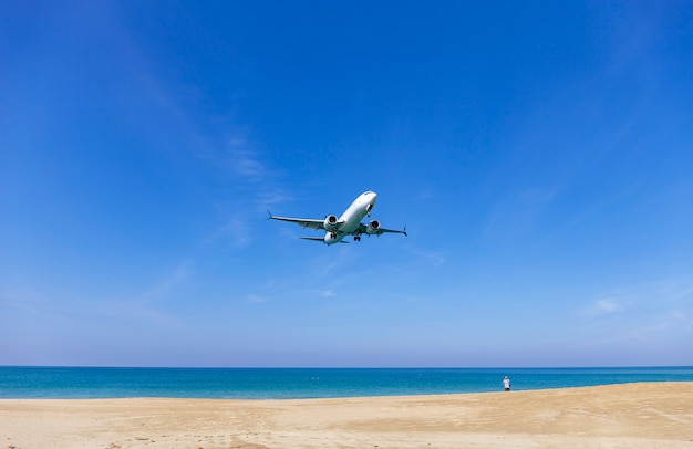 Commercial airplane landing above sea and clear blue sky Premium Photo