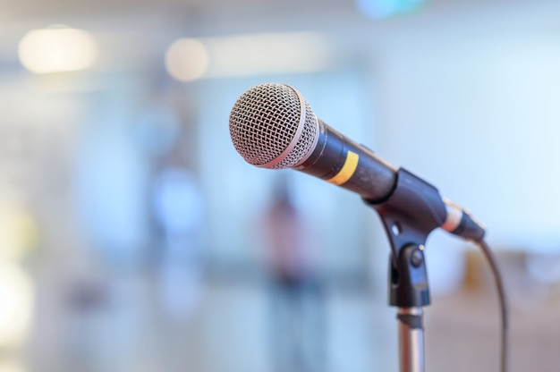 Communication microphone on stage Premium Photo