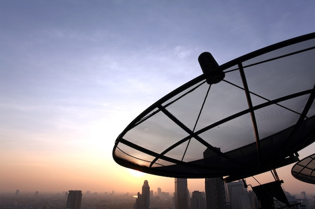 Communication satellite dish Premium Photo