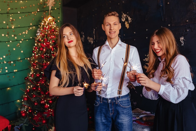 The company celebrates the new year with bengal lights Premium Photo