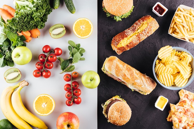 Comparison between fast and fresh healthy food Free Photo