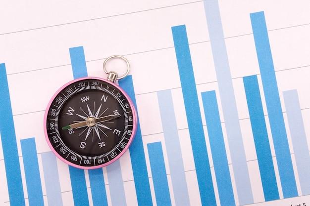 Графики compass и business, концепция финансов Premium Фотографии