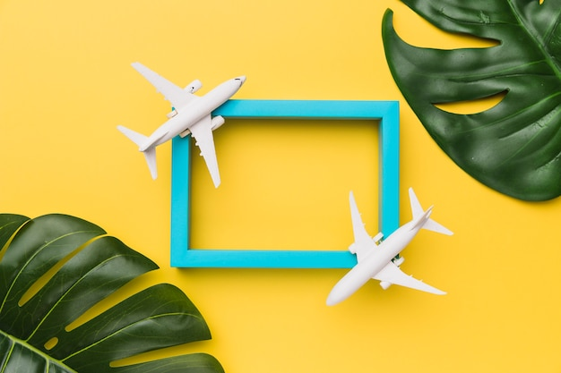 Composition of airplanes standing on blue frame and plant leaves Free Photo
